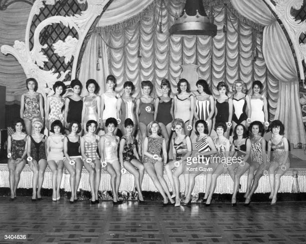 Some of the competitors in the Miss World 1962 contest in rehearsal in their swim suits at the Lyceum London Front row left to right Maria Ramirez...