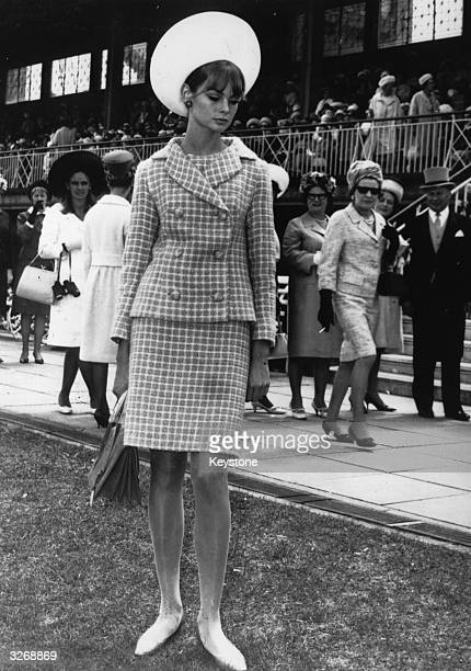British fashion icon Jean Shrimpton at the Melbourne races Australia