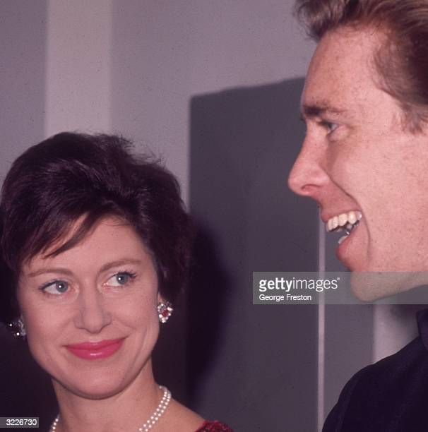 Princess Margaret looking up at her husband Lord Snowdon at the Congress Theatre