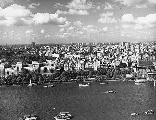 The London skyline viewed from across the Thames looking...