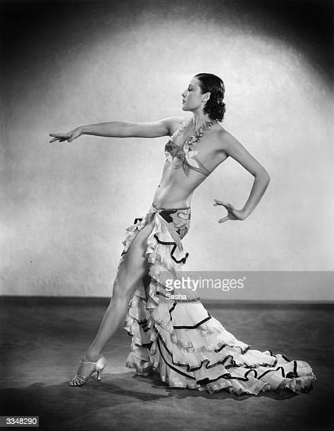 Exotic dancer Miss La Jana in a twopiece costume for an appearance at the Savoy Hotel