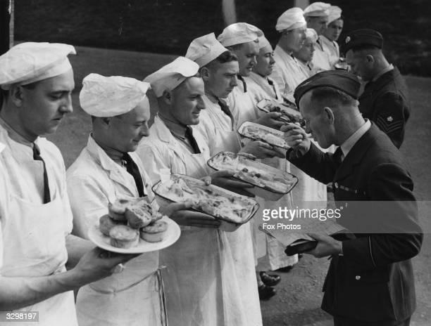 Sampling dishes at Royal Air Force School of Cooking