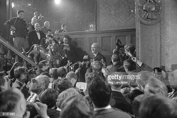 German architect and Nazi Government official Albert Speer meets the press upon his release from Spandau Prison in Berlin