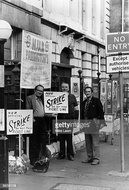 NUR officials on picket duty outside Paddington Station London during the rail drivers strike