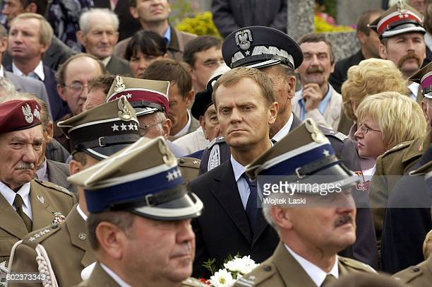 Presidential candidate Donald Tusk at a ceremony marking the 66th anniversary of the World War II battle of Kock Wola Gulowska Poland on 2nd October...