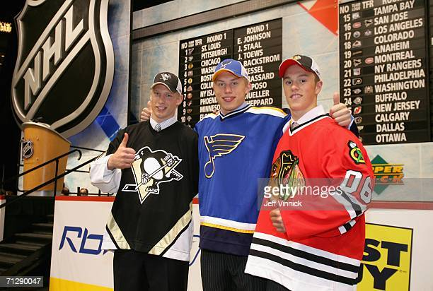 2nd overall pick Jordan Staal of the Pittsburgh Penguins, 1st overall pick Erik Johnson of the St. Louis Blues, and 3rd overall pick Jonathan Toews...
