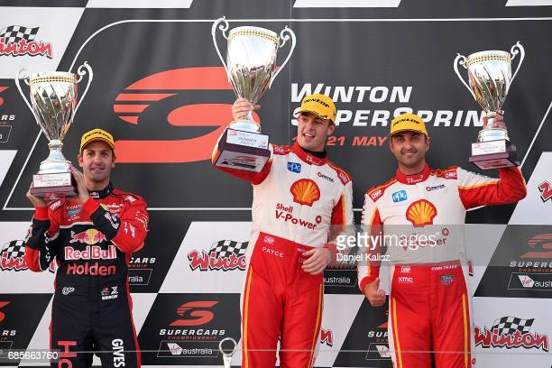 2nd palce Jamie Whincup driver of the Red Bull Holden Racing Team Holden Commodore VF 1st place Scott McLaughlin driver of the Shell VPower Racing...