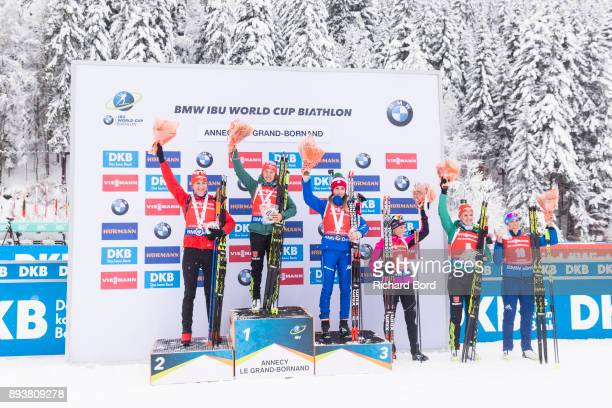 2nd place Anastasiya Kuzmina of Slovakia, 1st place Laura Dahlmeier of Germany, 3rd place Lisa Vittozzi of Italy, 4th place Selina Gasparin of...