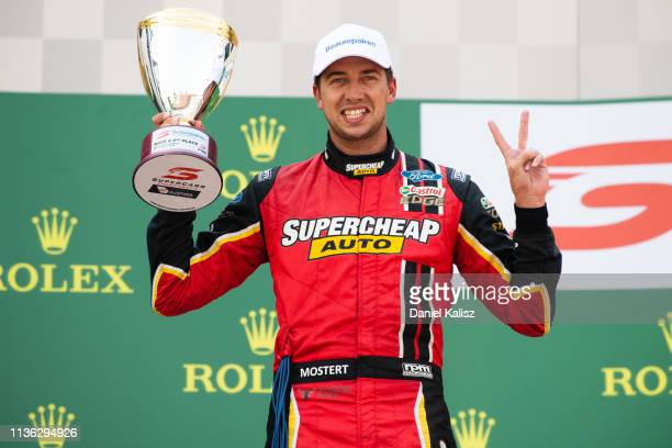 2nd place Chaz Mostert driver of the Supercheap Auto Racing Ford Mustang ciotp after race 4 for the Melbourne 400 Supercars Championship Round at the...
