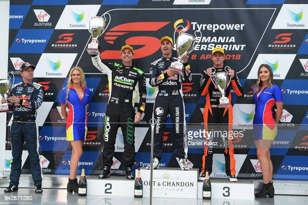 2nd place Craig Lowndes driver of the Autobarn Lowndes Racing Holden Commodore ZB 1st place Jamie Whincup driver of the Red Bull Holden Racing Team...
