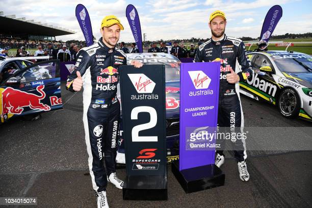 2nd place Earl Bamber driver of the Red Bull Holden Racing Team Holden Commodore ZB and Shane Van Gisbergen driver of the Red Bull Holden Racing Team...