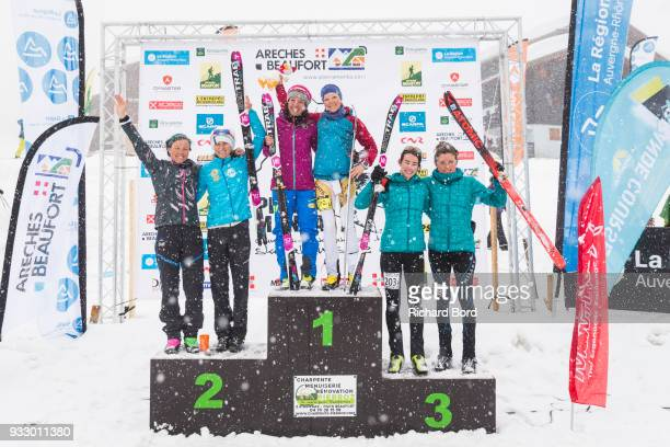 2nd place Emelie Forsberg of Sweden and of Laetitia Roux of France 1st place Katia Tomatis of Italy and Axelle Mollaret of France and 3rd place Marta...