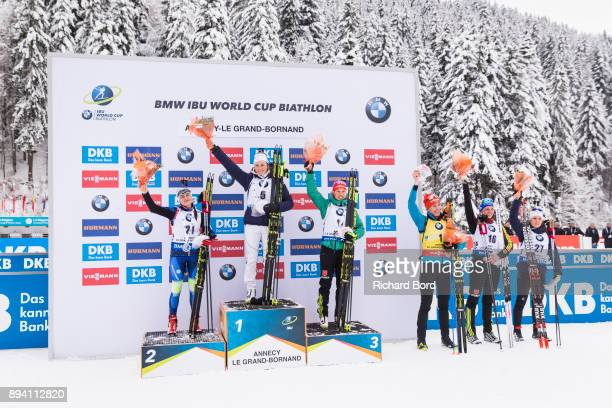 2nd place Iryna Kryuko of Bulgaria, 1st place Justine Braisaz of France, 3rd place Laura Dahlmeier of Germany, 4th place Anastasiya Kuzmina of...