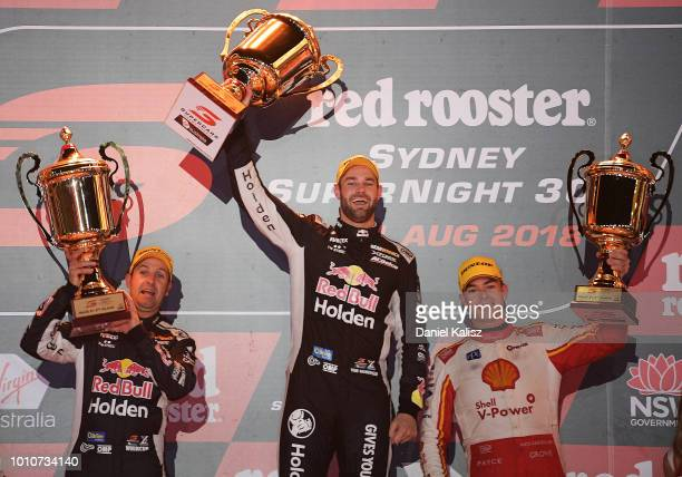 2nd place Jamie Whincup driver of the Red Bull Holden Racing Team Holden Commodore ZB 1st place Shane Van Gisbergen driver of the Red Bull Holden...