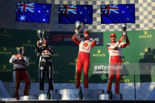 2nd place Jamie Whincup driver of the Red Bull Holden Racing Team Holden Commodore ZB, 1st place Scott McLaughlin driver of the Shell V-Power Racing...