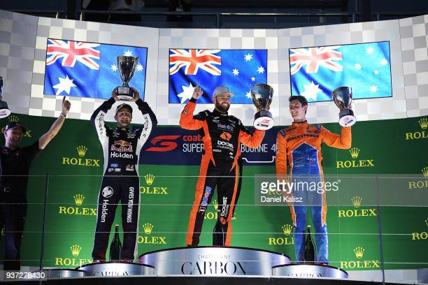 2nd place Jamie Whincup driver of the Red Bull Holden Racing Team Holden Commodore ZB 1st place Scott Pye driver of the Mobil 1 Boost Mobile Racing...