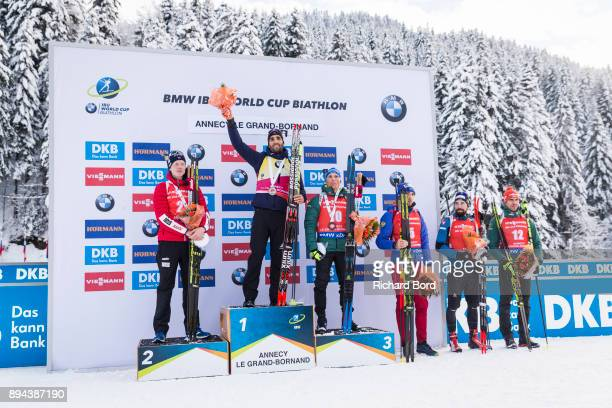 2nd place Johannes Thingnes Boe of Norway 1st place Martin Fourcade of France 3rd place Erik Lesser of Germany 4th place Anton Shipulin of Russia 5th...