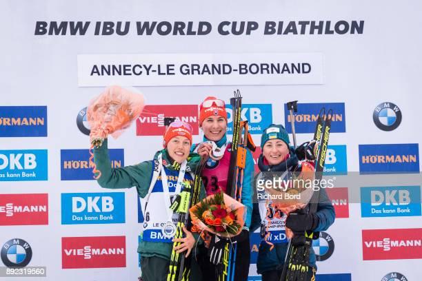 2nd place Laura Dahlmeier of Germany, 1st place Anastasiya Kuzmina of Slovakia and 3rd place Vita Semerenko of Ukraine pose on the podium during the...