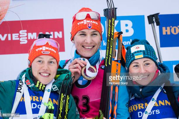 2nd place Laura Dahlmeier of Germany 1st place Anastasiya Kuzmina of Slovakia and 3rd place Vita Semerenko of Ukraine pose on the podium during the...