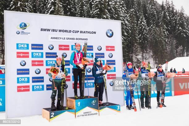 2nd place Laura Dahlmeier of Germany 1st place Anastasiya Kuzmina of Slovakia and 3rd place Vita Semerenko of Ukraine 4th place Lisa Vittozzi of...