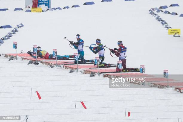 2nd place Martin Fourcade of France, 12th place Antonin Guigonnat of France, 5th place Simon Schempp of Germany and 3rd place Anton Shipulin of...