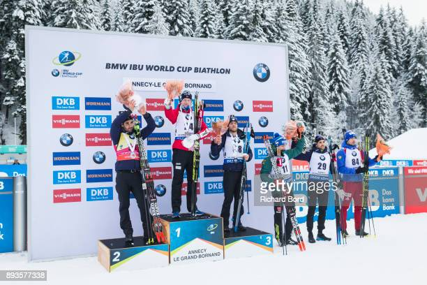 2nd place Martin Fourcade of France 1st place Johannes Thingnes Boe of Norway 3rd place Antonin Guigonnat of France 4th place Simon Schempp of...