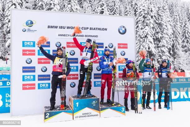 2nd place Martin Fourcade of France, 1st place Johannes Thingnes Boe of Norway, 3rd place Anton Shipulin of Russia, 4th place Alexander Loginov of...