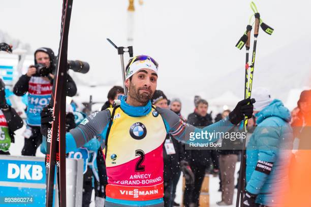 2nd place Martin Fourcade of France is seen before the podium ceremony of the IBU Biathlon World Cup Men's Pursuit on December 16 2017 in Le Grand...