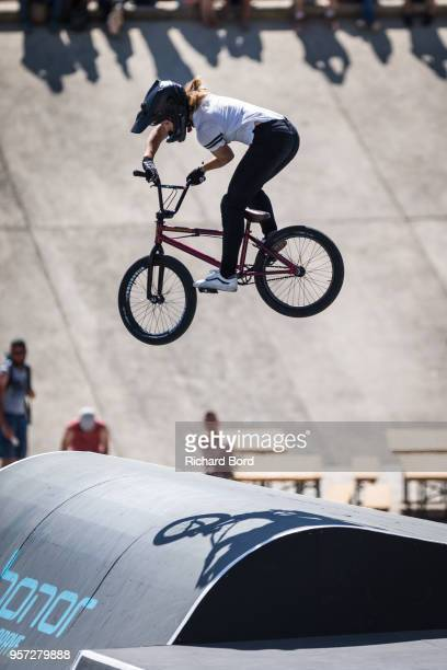 2nd place Nikita Ducarroz of Switzerland performs during the BMX Park Pro Women Final during the FISE on May 11, 2018 in Montpellier, France.