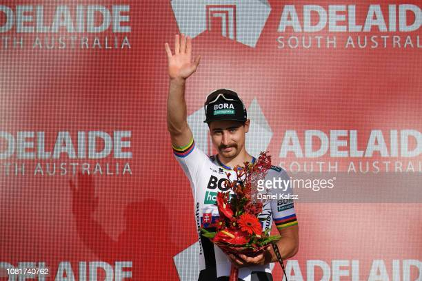 2nd place Peter Sagan of Slovakia and Team BoraHansgrohe celebrates on the podium after the 2019 Tour Down Under Classic on January 13 2019 in...