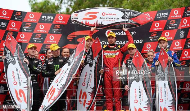 2nd place Richie Stanaway driver of the Monster Energy Ford Falcon FGX Cameron Waters driver of the Monster Energy Ford Falcon FGX 1st place Steve...