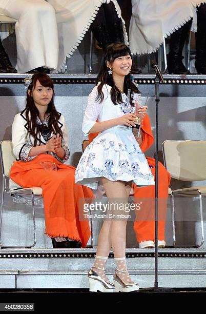 2nd place Rino Sashihara speaks during the AKB48 37th Single General Election at Ajinomoto Stadium on June 7 2014 in Chofu Tokyo Japan