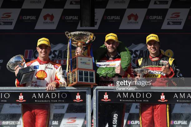 2nd place Scott McLaughlin driver of the Shell VPower Racing Team Ford Falcon FGX 1st place Shane Van Gisbergen driver of the Red Bull Holden Racing...