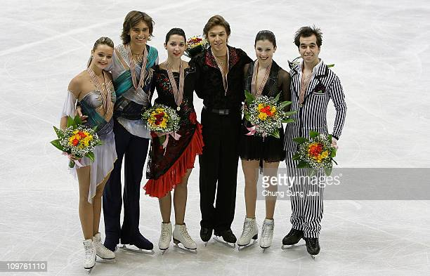 2nd place winner Ekaterina Pushkash and Jonathan Guerreiro of Russia, 1st place winner Ksenia Monko and Kirill Khaliavin of Russia and 3rd place...