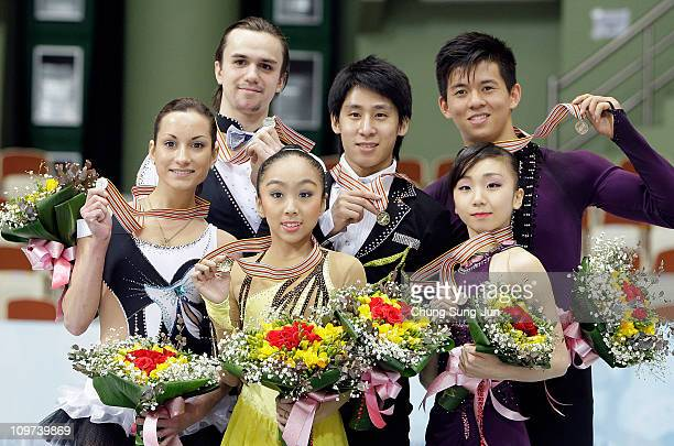 2nd place winner Ksenia Stolbova and Fedor Klimov of Russia, 1st place winner Wenjing Sui and Cong Han of China and 3rd place winner Narumi Takahashi...