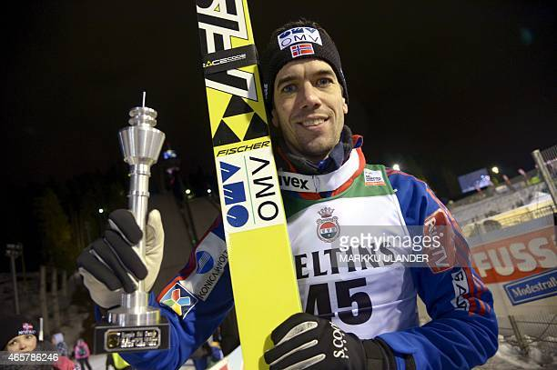 2nd placed Anders Bardal of Norway celebrates after the men's Ski Jumping Large Hill FIS World Cup competition in Kuopio Finland on March 10 2015 Due...