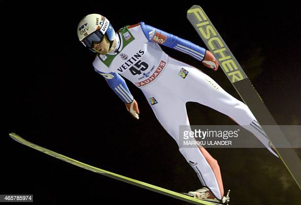 2nd placed Anders Bardal of Norway in action during the men's Ski Jumping Large Hill FIS World Cup competition in Kuopio Finland on March 10 2015 Due...