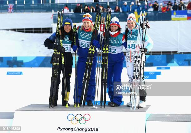 2nd placed Charlotte Kalla of Sweden 1st placed Ragnhild Haga of Norway and joint 3rd placed Marit Bjoergen of Norway and Krista Parmakoski of...