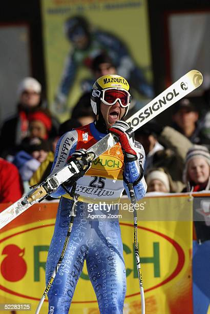 2nd placed Didier Defago of Switzerland celebrates after the FIS Ski World Cup Mens Super G event March 6, 2005 in Kvitfjell, Norway.