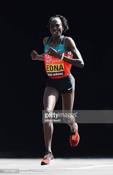2nd placed Edna Kiplagat of Kenya in action during the Virgin London Marathon 2012 on April 22, 2012 in London, England.