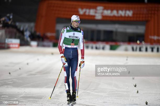 2nd placed Jarl Magnus Riiber of Norway reacts after the Men's Nordic Combined Individual Gundersen Skiing Competition at FIS Nordic Skiing World Cup...