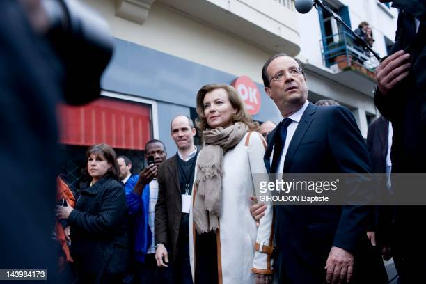 2nd round of the presidential election in Tulle with Francois Hollande and partner Valerie Trierweiler Visit polling stations in the city on May 6...