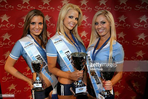 2nd Runner up Laura Love,Winner Rachel Burr and 1st Runnerup Nikki Walton poses during the 'Face of Origin' competition at Star City on June 24, 2009...