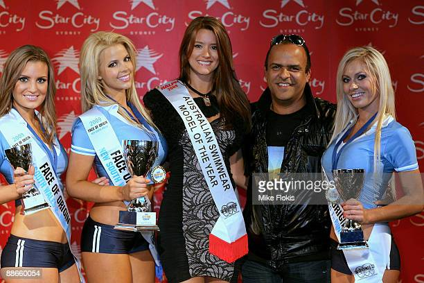 2nd Runner up Laura Love,Winner Rachel Burr,Joanna King,Wayne Daniels and Nikki Walton poses for a photo during the 'Face of Origin' competition at...