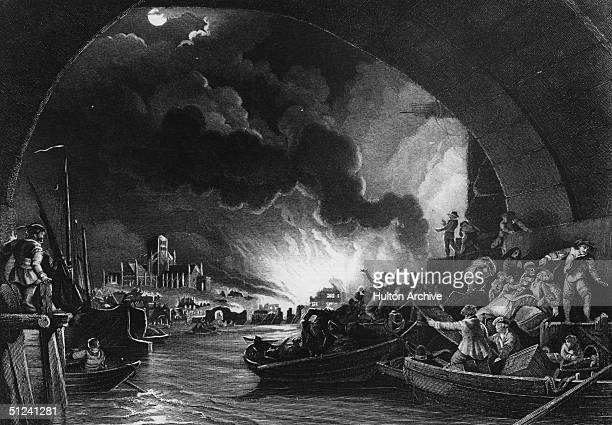 2nd September 1666 A view from a painting of the great fire of London as seen from the Thames river