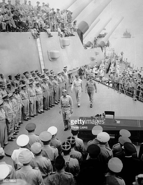 American army and navy aboard the USS Missouri for the surrender ceremonies to mark the end of the war with Japan.