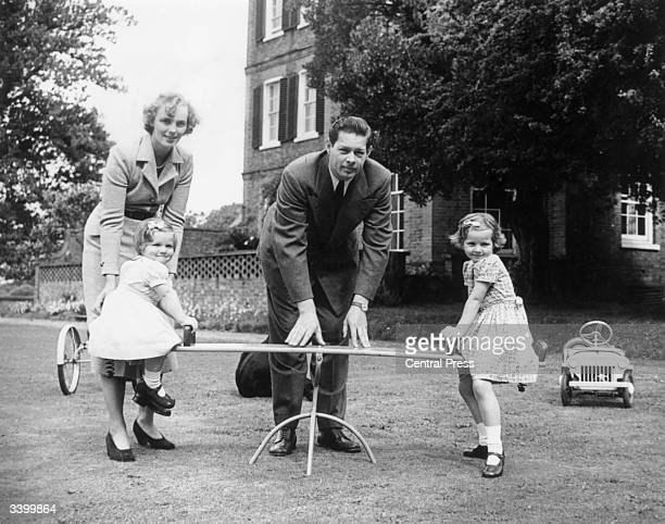 ExKing Michael of Romania in the garden of his home Ayot House in Hertfordshire with his wife Princess Anne of BourbonParma and their three daughters...