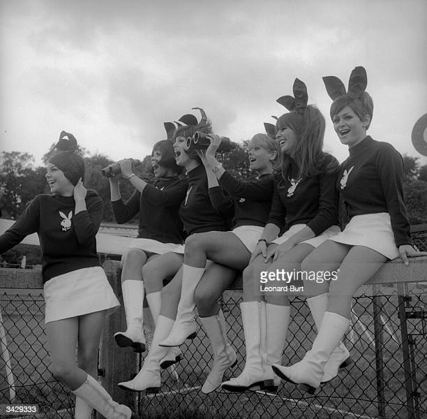 Bunny girls from London's Playboy Club at the Variety Club of Great Britain annual race meeting at Sandown