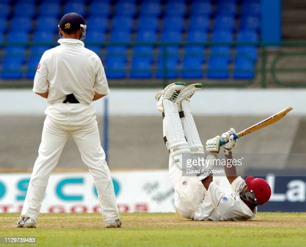 2nd TEST 2nd DAY 20/3/2004 AT THE QUEENS PARK OVAL PORT OF SPAIN TRINIDAD COLLEYMORE FALL OVER AFTER DUCKING A BALL FROM JONES.