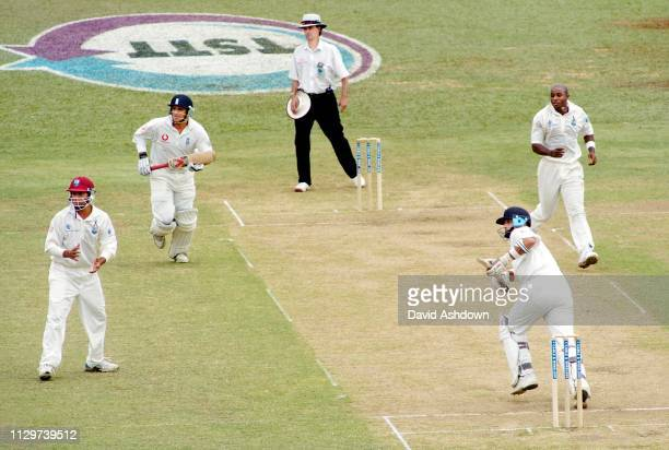 2nd TEST 2nd day 20/3/2004 AT THE QUEENS PARK OVAL PORT OF SPAIN TRINIDAD NASSA HUSSAIN TAKES A RUN OFF BEST'S BOWLING.